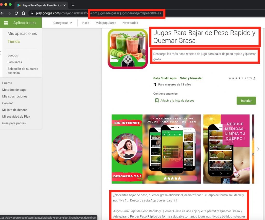 Factores que influyen para paquetes de apps en Google Play